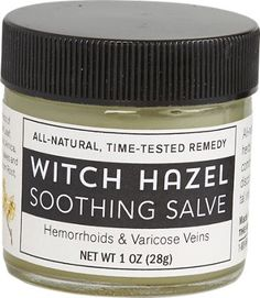 Witch hazel salve is a natural remedy for hemorrhoids and varicose veins. Witch hazel soothes swollen hemorrhoids. Witch hazels helps tighten varicose veins.