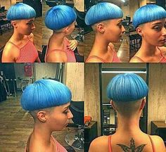 Great colour Side Cut Hairstyles, Short Wedge Hairstyles, Short Haircut Styles, Cool Hairstyles, Shaved Hairstyles, Really Short Hair, Short Hair Cuts, Page Haircut, Mushroom Hair