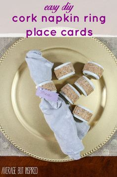 DIY cork napkin ring place cards pull double duty by keeping napkins in place and telling guests where to sit! Learn how to make them with this quick and easy tutorial.