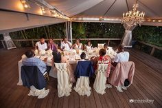 What an awesome way to enjoy an intimate wedding reception laughing it up and enjoying dinner at the cabana at #merrimans in Kapalua!