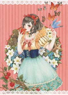"fairytalemood: ""Snow White"" by AZSA Disney Fan Art, Disney Love, Disney Magic, Disney Pixar, Manga Anime, Art Anime, Anime Art Girl, Dreamworks, Anime Snow"