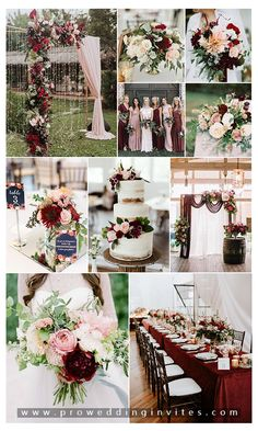 How to Mix Burgundy and Blush at Your Wedding Fall Wedding Colors, Wedding Color Schemes, February Wedding Colors, Popular Wedding Colors, Pink And Burgundy Wedding, Burgendy Wedding, Pink Wedding Invitations, Wedding Stationery, Rustic Wedding