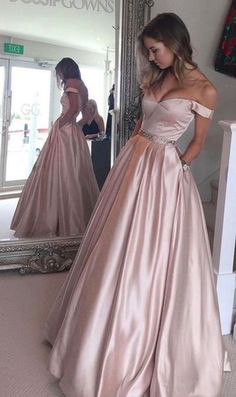 Prom Dress,Prom Dresses,Pearl Pink Prom Dress,A-line Off the Shoulder Long Prom Gown, Ball Gown,Teens Party Dresses,Senior Prom Dress, Long Evening Dress