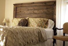 Shabby Chic Master Bedroom | How about that headboard? He did an amazing job!