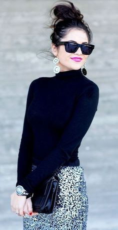 Top knot + sweater + sequin skirt.