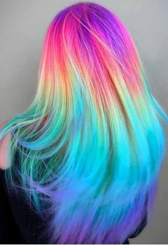 Experts who used to work ombre styles are now concentrating on fancy rainbow hair colors these days. Looking for Christmas Hair Colors Ideas? Here is 7 Crazy Rainbow Christmas Hair Colors Ideas for Trendy Girls to wear, Check them NOW Cute Hair Colors, Pretty Hair Color, Beautiful Hair Color, Hair Dye Colors, Unique Hair Color, Vivid Hair Color, Unique Colors, Unique Hairstyles, Pretty Hairstyles