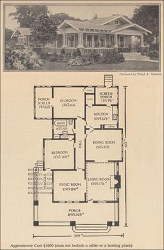1916 One Story Bungalow - No less than THREE porches...and a Music Room.