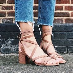 Up your summer shoe game with our wrap heeled sandals like Emma Hill! Dreamy right? #ImWearingRI