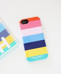 Pencil Shavings Studio iPhone Case, Beach Towel Stripe, Rainbow Stripe, Preppy, Colorful, Monogrammed iPhone, Personalized