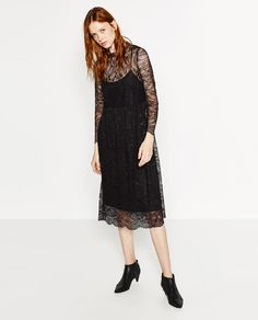 Image 1 of LACE MIDI DRESS from Zara