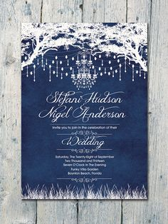 Digital - Printable Files - Navy - Royal Winter Garden Wedding Invitation and Reply Card Set - Wedding Stationery - ID80TNV