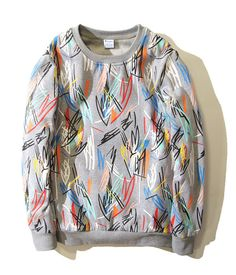 Clothing Length: Regular Fabric Type: Broadcloth Hooded: No Collar: O-Neck Sleeve Length: Full Pattern Type: Geometric Sleeve Style: Regular Type: Pullovers Material: Cotton Weight: 500 SIZE M -Size L
