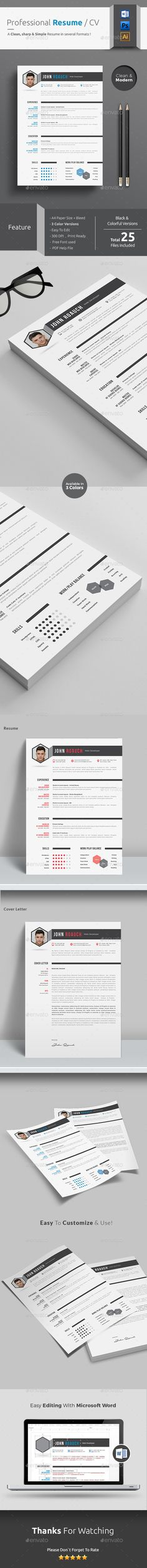 Resume CV Template with Word Resume Cover Letter Template  is a professional resume template. This simple resume template is really great. http://graphicriver.net/item/professional-resumecv-/13701047?ref=themedevisers