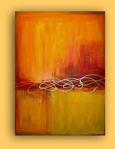 "ART ORIGINAL ABSTRACT Huge Orange and Red Acrylic Abstract Painting Fine Art on Gallery Canvas Autumn Day 36x48x1.5"" by Ora Birenbaum. $445.00, via Etsy."