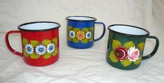 pretty painted enamel mugs