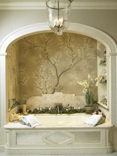Cindy Rinfret's tranquil bath surrounded by hand-painted Gracie wallpaper