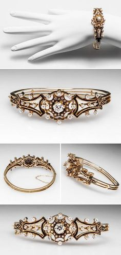 Antique Victorian Bangle Bracelet w/ Old European Cut Diamonds in 14K Gold, circa 1890's. Via @EraGemJewelry. This lovely antique victorian bangle bracelet dates from the 1890's and is in very good condition. It features black enamel accents and the center stone is a .85 carat genuine old European cut diamond. This bracelet is crafted of solid 14k yellow gold and is fitted with a box style clasp and safety chain.