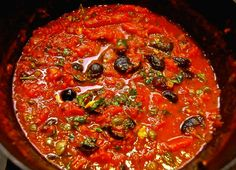 Low Carb Puttanesca Sauce may or may not have some rather dubious origins but it should be quite robust & flavorful. As you look at the list of ingredients Chef Recipes, Sauce Recipes, Food Network Recipes, Pasta Recipes, Italian Recipes, Healthy Recipes, Drink Recipes, Barbacoa, Salsa Italiana