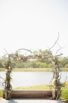 pretty branch + flower ceremony arch | Sara & Rocky #wedding