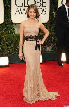 Buy Sarah Hyland Champagne Prom Dress at Golden Globes Awards 2012 Red Carpet Dress from celeblish.com