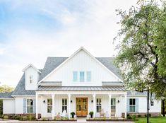 Classic never go out of style Exterior Siding, Exterior House Colors, Exterior Design, White Exterior Houses, Exterior Remodel, White Farmhouse Exterior, Farmhouse Homes, Board And Batten Exterior, Vertical Siding