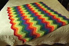 10 Free Ripple Crochet Afghan Patterns: Rippled Rainbow Crochet Blanket Free Pattern