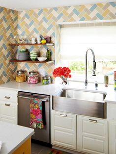 patterned tile backsplash. See the rest of this budget-friendly makeover: http://www.bhg.com/kitchen/remodeling/makeover/bright-budget-friendly-kitchen-makeover/?page=1=bhgpin050712makeover