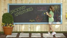 Outdoor Chalkboard Brought to you by Lowe's Creative Ideas. Give kids a place to create and share their outdoor artwork on this weatherproof chalkboard.