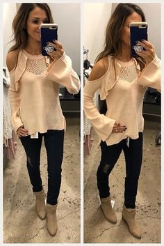 Cold shoulder sweater to transition into Spring. Follow me on FB and IG @lilacandlipgloss