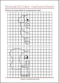Zeichne Die Zweite Halfte Spiegelungen Visuomotorik Ubungen Fur Vorschule Unterricht Ideen Vorschule Arbeitsblatter Vorschule
