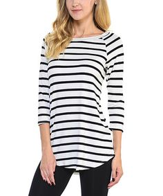 This White & Black Stripe Three-Quarter Sleeve Top is perfect! #zulilyfinds
