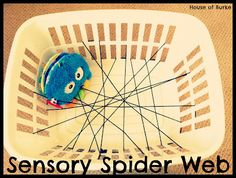 House of Burke: Baby-School: Exploring Spiders - Great sensory activities using yarn, contact paper, a laundry basket and some toys Baby Sensory, Sensory Activities, Infant Activities, Sensory Play, Preschool Activities, Contact Paper Crafts, Spider Book, Baby Voice, Treasure Basket