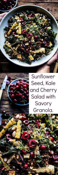 Sunflower Seed, Kale and Cherry Salad with Savory Granola | halfbakedharvest.com @hbharvest