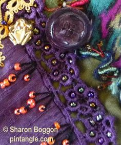 Crazy quilt Block 74 detail  pintangle  Sharon Boggan