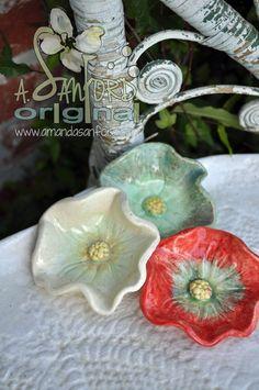 Handbuilt Ceramic Pottery Poppy bowls