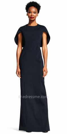 Wow your guests at your next event in the Structured Dolman Sleeve Evening Dress by Adrianna Papell. This unique style features a crew neckline, short sleeves, a covered back and an invisible zipper down the center. The straight silhouette also includes classic princess seams and a center back slit for a hint of skin exposure.  #edressme