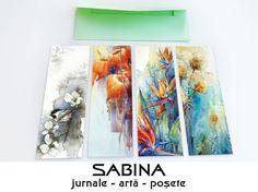 Set cu 4 semne de carte cu flori deosebite