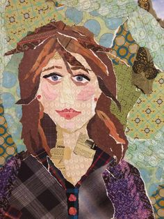 A whimsical, colorful and personal gift for yourself or any special occasion. Collage Portrait, Collage Art, Portraits, Mixed Media Painting, Mixed Media Collage, Sketchbook Drawings, Art Drawings, Photo Quilts, Principles Of Art