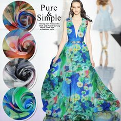 Cheap Fabric, Buy Quality Home & Garden Directly from China Suppliers:Printed Pure 100% Silk Chiffon Fabrics for Sewing 6mm Mulberry Tissu Tulle Quilting Patchwork DIY Cloth Gown Dress per Meter Enjoy ✓Free Shipping Worldwide! ✓Limited Time Sale✓Easy Return. Silk Chiffon Fabric, Blue Fabric, Scarf Dress, Gown Dress, Dress Shirt, Embroidery Store, Green Silk, Mulberry Silk, Lining Fabric