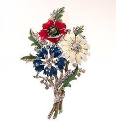 Vintage TRIFARI Brooch Pin Fur Clip Enamel Flowers Philippe Rhinestone Pat PEND