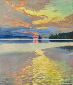 (ok, a lake painting) Akseli Gallen-Kallela (Finnish - Sunset Over Lake Ruovesi Landscape Art, Landscape Paintings, Sunset Landscape, Kunst Online, Nordic Art, European Paintings, Art History, Modern Art, Art Photography
