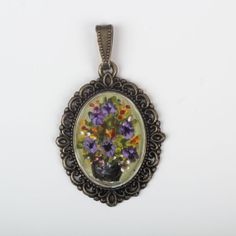 Items similar to The Oil Paint Pendant - Only Special For You / Free Shipphing on Etsy Pocket Watch, Pendant Necklace, Oil, Unique Jewelry, Handmade Gifts, Painting, Accessories, Etsy, Vintage