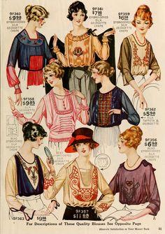Colorful, timelessly lovely blouses, winter 1919. #vintage #Edwardian #fashion