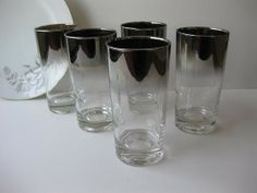 Vintage Retro Mid Century Silver Ombre Trimmed Glass by jenscloset, $42.50