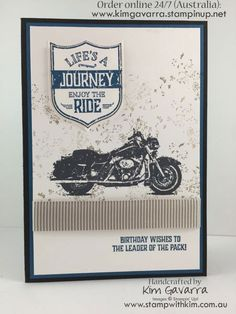 One Wild Ride Stamp set Stampin Up! Australia Stamp With Kim 40th Birthday Cards, Masculine Birthday Cards, Handmade Birthday Cards, Man Birthday, Masculine Cards, Handmade Cards, Harley Davidson, Horse Cards, Hand Stamped Cards