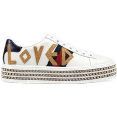 Gucci Women's New Ace Leather Platform Sneakers ($1,350) ❤ liked on Polyvore featuring shoes, sneakers, footwear, white, white sneakers, metallic gold shoes, white leather shoes, platform sneakers and gucci shoes
