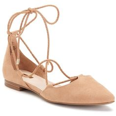 Jennifer Lopez Tessa Women's Flats ($60) ❤ liked on Polyvore featuring shoes, flats, beige oth, flat pointed-toe shoes, pointed-toe flats, beige shoes, lace up flats and flat d orsay shoes