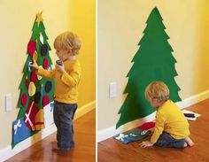 Felt xmas tree - velcro decorations so toddler can decorate