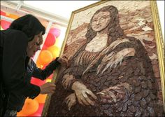 The Mona Lisa… made out of sausages.