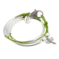 Mini Friendship leather wrap bracelet w Dragonfly charm in Gloss Fern leather, comes as shown